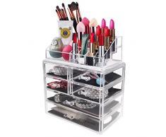 Acelectronic Rangement Maquillage Coffret Bijoux / Cosmetiques Presentoir Support Organisateur En Acrylique Transparent & 6 Tiroirs