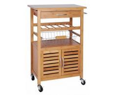quantio Chariot de cuisine exclusif en bambou casier à vin, une corbeille de fruits un tiroir - chariot de service roues