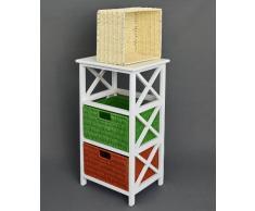ts-ideen Commode Table d'appoint 72 cm Étagère Plateau supérieur Blanc Rotin Paniers Blanc