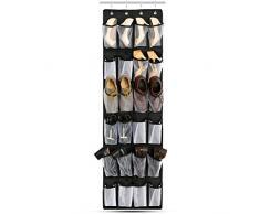 Rangement Chaussures et Organisateur des Chaussures transparent en voile,Iyowin ®Rangement tissu mural à suspendre derrière de Porte,24 Poches avec 4 crochets,Sac de Rangement Organisateur/Stockage de Chaussures avec Simple