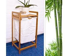 Relaxdays Corbeille à linge Panier à Linge en Bambou avec Sac en Toile pour Linge Sale Tri HxlxP : 73 x 34 x 33 cm sac en tissu amovible coulissant surface de rangement coffre avec poignées, nature