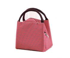 Freessom Sac Isotherme Repas Sac à Déjeuner Sillon Simple Lunch Box Bag Epais Emporter Portable Fraîcheur Zipper Organiseur de Voyage Camping Pique-Nique (Rouge)