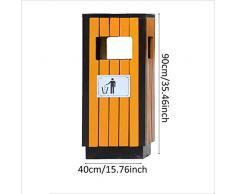 en Plein Air Poubelle extérieure Grande Poubelle assainissement métal en Bois Massif Scenic Park Community Poubelle extérieure Poubelle (40 * 40 * 90cm) Gestion des Ordures (Color : Orange)