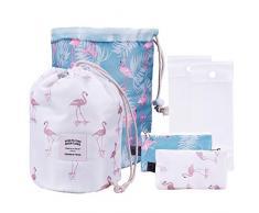 OZUAR Lot de 2 Trousse de Toilette Cosmétique Sacs Trousse de Voyage Imperméable à leau avec Sac de Maquillage Organisateur + Pochette + Pochette Transparente en PVC pour Femmes (Motif Flamingo)