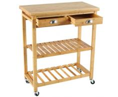 Meuble chariot de rangement desserte de cuisine sur roulettes 2 tiroirs 2 étagà¨res en Bambou