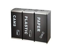 ZWS-Dustbins Poubelle dextérieur rectangulaire en métal pour déchets et Recyclage 3 Compartiments, Covered, Lot de 3
