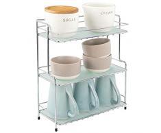mDesign présentoir à épices – petite étagère de rangement en métal à 3 niveaux pour cuisine ou salle de bain – organiseur cuisine autoportant pour épices, conserves, etc. – argenté/transparent
