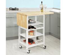 SoBuy® FKW44-WN Desserte sur roulettes Chariot de Cuisine Meuble de Rangement, Plans de Travail Rabattables Porte-Bouteilles intégré