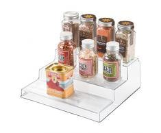 iDesign rangement cuisine, petite étagère de rangement à 3 niveaux en plastique, étagère à épices pratique pour épices et ingrédients, transparent