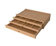 Artina - Boite de Rangement Troyes en Bois pour Materiel de Peinture - 3 tiroirs