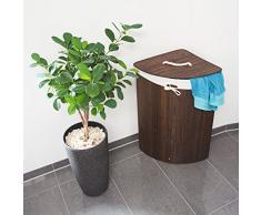 Relaxdays 10019052 Panier à linge pliant corbeille pliable rectangle en bambou 64 litres 65 cm HxlxP 65 x 49,5 x 37 cm, marron