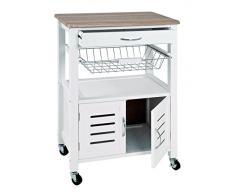 Haku 40330 Chariot de cuisine en MDF Blanc 37 x 58 x 84 cm
