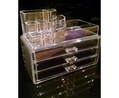 Oi Labels Coffret de rangement transparent pour maquillage/cosmétiques/bijoux/vernis à ongles en acrylique 3 mm de haute qualité Livré dans une boîte cadeau.