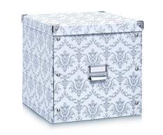 Zeller Present 17974 Vintage Boîte de Rangement Carton Blanc 33,5 x 33 x 3,5 cm