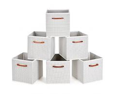 MaidMAX Casier Rangement, Cube de Rangement Tissu, Boite de Rangement Tissu, Tiroir Rangement, Panieres Rangement, avec Poignées en Bois, 26,6 x 26,6 x 27,9(cm), Lot de 6, Gris Polka Dot