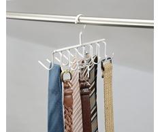 mDesign rangement cravate pour garde-robe – porte-cravate et porte-ceinture dans un – 14 crochets pour cravates et ceintures – accrochage simple – idéal comme cintre écharpe