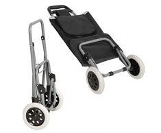 Chariot de Courses marché Pliable avec 2 Roues et 3 Poche Caddie Panier - Pliable et Revêtement pliable