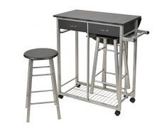 ts-ideen Ensemble table à roulettes manger restaurant en 3 parties noir chariot de cuisine chaise MDF couleur argentée cuisine 83 x 79,5 cm