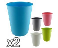 Poubelle - Bac à déchets en plastique de la poussière d'extérieur unités, Rose, Lot de 2