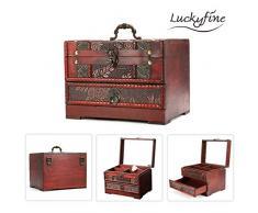 Boîte de Rangement Bois,Luckyfine,Boîte en Bois à Bijoux, Coffre au trésor, Organisateur pour Bijoux pour Diverses Occasions