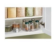 iDesign plateau tournant, petit plateau pivotant en plastique sans BPA pour épices et ingrédients de cuisine, socle tournant pour le placard, transparent