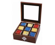 Boîte à Boite à thé 9 compartiments en bois - 23 x 23 x 9 cm-rangement pour les sachets de thé