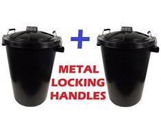 Grand 2 x 80/85 l Noir poubelle plastique Idéal pour une utilisation extérieure/Chemical/déchets, Poubelle/aliments pour animaux