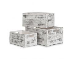 Zeller 15133 Boîte de Rangement Rustic 30x20x15cm Blanc, Bois, 30 x 20 x 15 cm