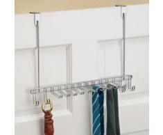 InterDesign Classico, Rangement de dessus de porte pour cravates, ceintures, sacs à main, bijoux - Chrome