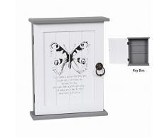 Clés en bois style shabby chic Boîte de rangement de placard Finition peinture papillon gris/vert