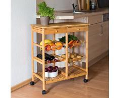 Relaxdays Desserte de cuisine JAMES XXL meuble dappoint îlot chariot de cuisine à roulettes en bambou paniers amovibles HxlxP : 80 x 67 x 37 cm, nature