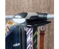 Relaxdays 10018970 rangement pour pantalon et porte-cravates électrique avec éclairage lED rotatif sur simple pression dun bouton