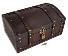 Brynnberg - 30x20x15cm Boîte de Rangement Coffre au Trésor Cadenas - Boîte en Bois - trésor Poitrine