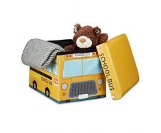 Relaxdays 10020376_548 Coffre à Jouets Boîte à Jouets Pliant Tabouret Pouf Enfant Pliable Faux Cuir Bus Ecole 32 x 42 x 32 cm