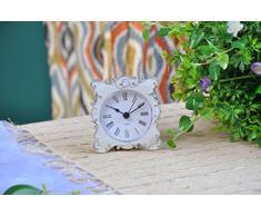 NIKKY HOME Pewter Jolie Petite et mignonne Horloge de table de chevet avec strass cristal de quartz analogique 3 '' bureau et étagère pour Salon Salle de bain Décoration, émail blanc