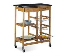 Relaxdays Desserte de cuisine ALFRED XL chariot îlot en bambou meuble roulettes HxlxP: 82,5 x 67,5 x 37,5 cm service avec plateau en marbre noir avec 2 tiroirs 3 paniers en inox 2 étagères, nature