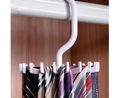 MMRM Rotatif 18 Crochet Rotation Porte Ceinture Organisateur Écharpe Cravate Support Suspendu Forme J - Noir