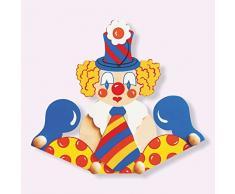 Dida - Porte-manteaux mur en bois pour les enfants avec un clown mignon avec cravate