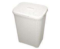 CURVER | Coffre à linge 60L - Aspect rotin, Ivoire, Laundry Hampers & Baskets, 44,8x34,1x61,5 cm