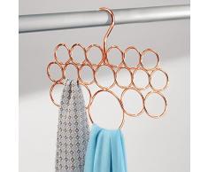 InterDesign 24979EU Axis Cintre/Porte-Écharpe pour Foulards Cravates Ceintures Châles Accessoires 18 Boucles Cuivre