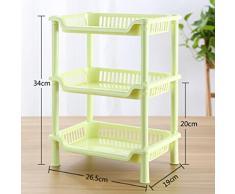 hibote 3 Niveau de petite taille Plastic Place Salle de bains étagère de rangement de cuisine toilettes étagère de stockage, 13 inch , Vert Couleur
