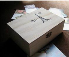 niceeshop(TM) Boîte à Carte Postale/Bijoux en Bois Brut, en Couleur Bois Brut