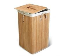 Le Force Pallas Bambou Panier à linge carré avec textile Sac Intérieur 60x 35x 50h cm