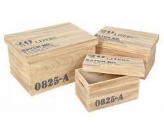 3-pièce de boîte de rangement coffres en bois Antique Shabby Vintage