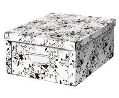Zeller 17848 Boite de rangement en carton motif floral, blanc, 40 x 33 x 17 cm