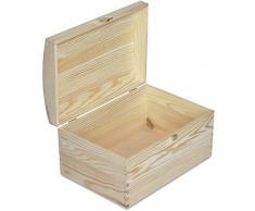 Creative Deco Grande Coffre Boîte de Rangement Bois | 34,5 x 25 x 19,2 cm | Non Peinte Caisse Malle pour Décorer | avec Couvercle Courbé | Parfait pour Jouets, Outils, Documents et Objets