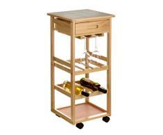 Premier Housewares 2403026 Chariot de Cuisine Broche avec Tiroir/Rangement/Haut Carreaux de Céramique à Roues pour 6 Bouteilles