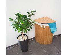 Relaxdays Panier à linge pliant pliable Triangulaire triangle en bambou avec sac intérieur 65 x 49,5 x 37cm 64L Couleur naturelle
