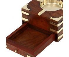 Grand Cendrier en bois décoratif avec Cigarette Boîte de rangement Case