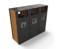 PoubelleDirect Poubelle De Tri Extérieur, 3 Compartiments Tri Des Déchets : 3 x 200L avec cendrier - KUOKIO